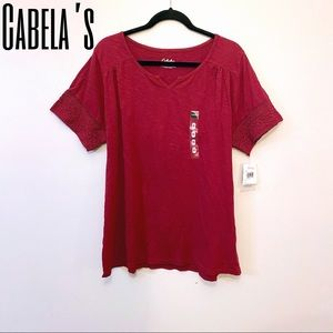 NWT Cabela's burgundy casual top lace trim